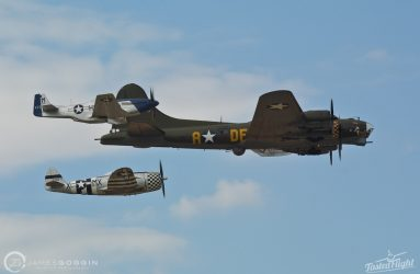 Boeing B-17 Flying Fortress with North American P-51D Mustang and Republic P-47 Thunderbolt